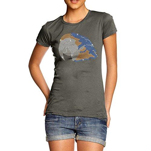 TWISTED ENVY Damen T-Shirt Parrot Head Rhinestone Diamante Stass X-Large Khaki Grün (Cockatoo Tee Parrot T-shirt)