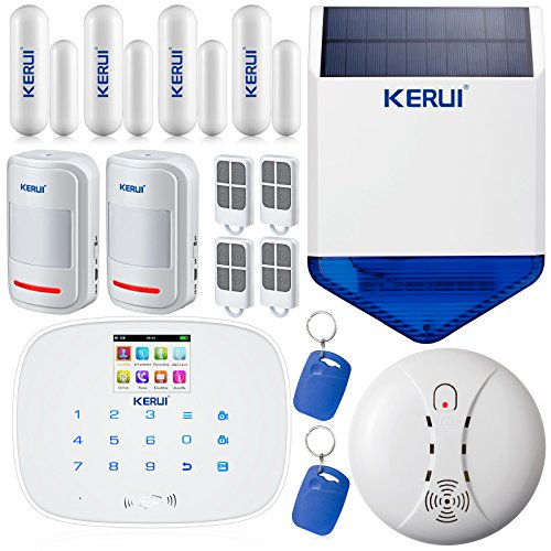 KERUI G19 433Hz Wireless Wired GSM SMS RFID Home Burglar Security Alarm System Android IOS APP Control Kit with Touch Screen Keypad Auto Dial DIY Voice Recording Garden Alarm with Wireless Waterproof