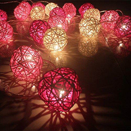 Calcifer® - Guirlande extérieure de boules de rotin de 3 m avec 20 LED - Fil ultra-fin en cuivre - Décoration de mariage, jardin, terrasse, arbre, fête, chambre, Noël White+Pink