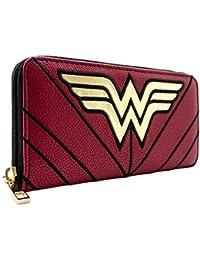 Cartera de DC Wonder Woman Traje Guerrero Estrellas y Rayas Rojo