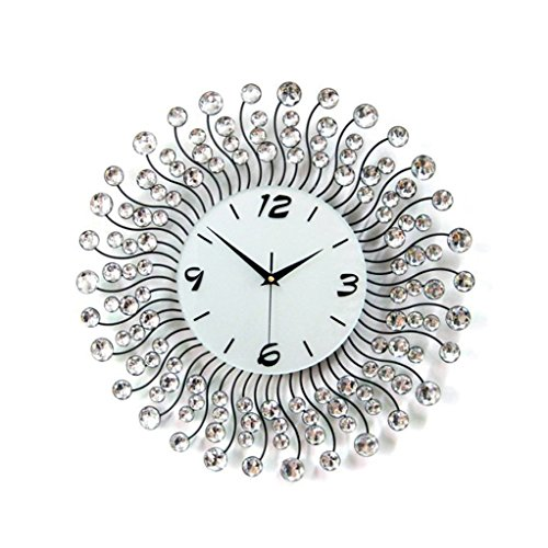 PIGE personality Creative Iron Big wall clock mosaic Rhinestones Wall clock large size bedroom Round Mute Pocket watch ( Color : Silver )