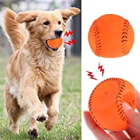 AniYY Pet Training Ball Rubber Baseball Interactive Funny Bite Chew Toys Cat Kitten Dog Puppy Products Play Squeaky Sound Elastic Soft Oral Cleaning Teeth Exercise Gifts