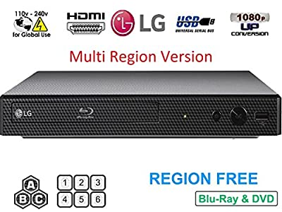 LG BP-250 Region Free Blu-ray Player, Multi region Smart 110-240 volts, Dynastar 6FT HDMI cable Bundle
