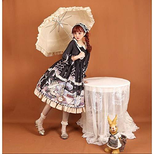 QAQBDBCKL Vintage Süße Lolita Kleid Peter Pan Kragen Spitze Nette Druck Viktorianischen Kleid Tee Party Gothic Lolita Op Kawaii Mädchen Loli Cos -