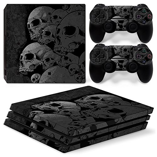 Morbuy Ps4 Pro Skin Consola Design Foils Vinyl Pegatina Sticker Decal And 2 Playstation 4 Pro Dualshock Controlador Skins Set (Skulls)
