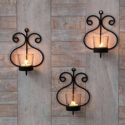 Collectible India Set Of 3 Iron Wall Sconce Candle Holder For Home...