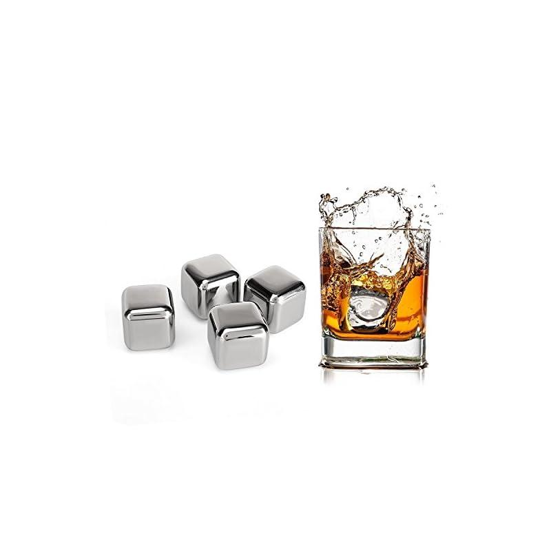 Amzdeal 4 Whisky Steine Edelstahl Eiswrfel Wiederverwendbare Khlsteine Khlwrfel Whisky Wrfel