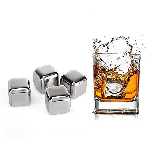 Amzdeal 4 Whisky Steine, Edelstahl Eiswürfel, Wiederverwendbare Kühlsteine Kühlwürfel Whisky Würfel