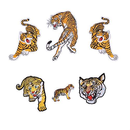 nbeads 6PCS Brüllender Bengal gestreift Tiger Bestickt Tuch Patches DIY Iron On Patches Sew auf Aufnäher Craft Patch für Taschen Jacken Jeans Rucksack (Bengals-rucksack)