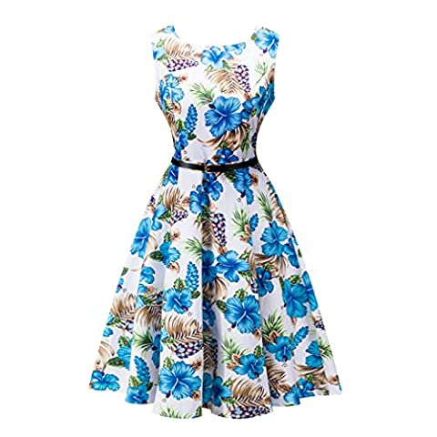 Vintage Dress ,1950's Hepburn Retro Cotton Floral Pattern Print Large Hem Party Skater Dresses Rockabilly Cocktail Party Swing Dress Spring Garden Picnic A-line Evening Dresses