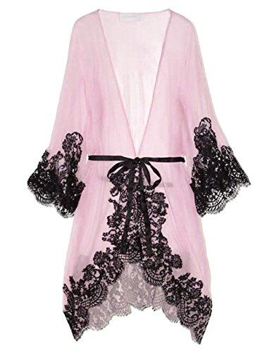 Dame-reizvolle Nachtwäsche Chemise Kimono Schlaf-Nachtkleid Bademantel (EU 34, pink) (Sheer Robe Silk)