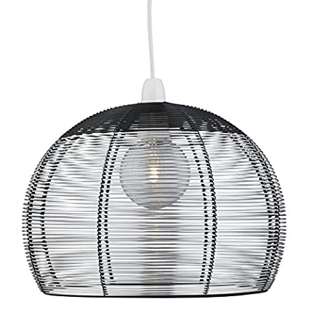 Lighting Collection 700203 60 W 30 cm Non-Electric Pendant Light, Silver/Black