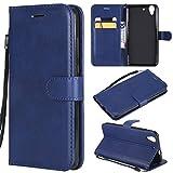 Jonmao Funda Huawei Honor 5A / Y6 II, Azul Billetera Cuero Caso Magnético Clamshell Real Cuero Tarjeta Soporte Carcasa para Huawei Honor 5A / Y6 II