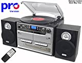 BT-SMC386r - PRO Version (Pro Turntable Deck) 8 in 1 Music System + Remote Control - Bluetooth* Separate Stereo Speakers - 3 Speed Record Player - CD Player - FM & MW Radio - Playback & Encode RECORDING to USB Stick / SD Memory Card - TWIN Cassette Player & RECORDER - Retro Nostalgic Music Centre System (*Plays music to the music centre large speakers from a Mobile Phone, iPhone, iPod, MP3 player, Computer etc) - by Steepletone - (Black / Silver)