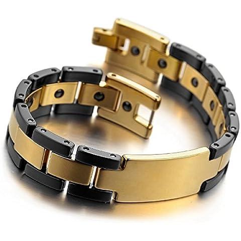 Kalendone Men's Tungsten Ceramic Bracelet Link Wrist Braclet Black Gold Cross Gothic Bracelet,8
