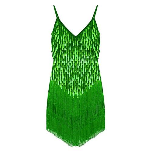FEESHOW Frauen Retro 1920er Jahre Abendkleid Pailletten Fransen Tanzkleid Swing Kleid für Ballsaal Samba Tango Latin Party Clubwear Grün One_Size