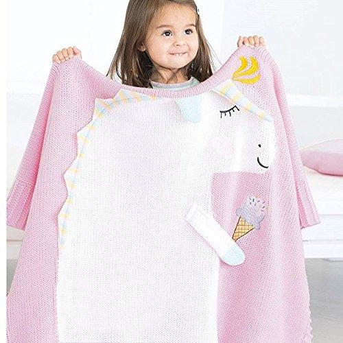 ZEZKT-Home Enicorn Decke Knitting Blanket Bettwäsche Stricken Dicke Garn Ddecke Sperrige Gestrickte Werfen Pet Bett Neugeborenen Fotografie Decorator Stuhl Sofa Baby-Foto Chunky (Rosa, 75*105cm)