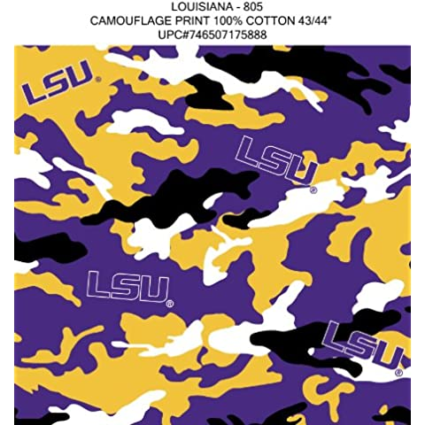 LSU CAMOUFLAGE COTTON FABRIC-LSU TIGERS COTTON FABRIC WITH CAMOUFLAGE DESIGN-NEW FOR 2013 by Sykel - Tigers Fleece Fabric