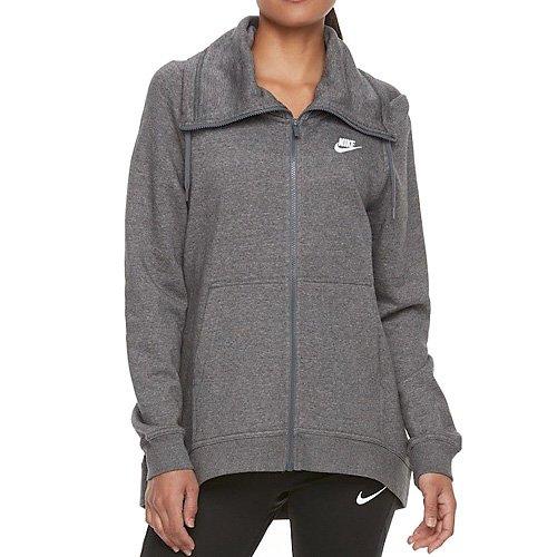 Nike Damen Sportswear Funnel Club Langarm Oberteil Mit Kapuze Full-Zip Charcoal Heather/Dark Gre, S