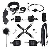 10 teiliges BDSM Bondage Set Halsbänder, Handschellen, Seile, Knebel, Peitsche usw.