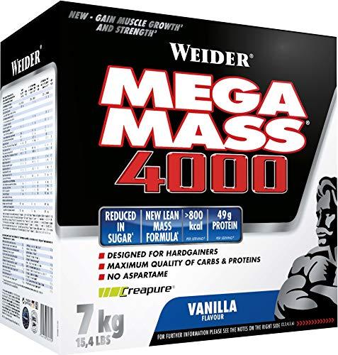 WEIDER Mega Mass 4000 Weight Gainer Shake (mit Protein & Kreatin, Muskelaufbau) Vanille, 7kg