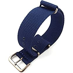 G10 Nato Military Blue Nylon Watch Strap Band Gun Metal Buckle 16mm