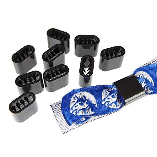 Verschluss Textilband Kunststoff - 10 Stück - Schwarz Flach - Stoff-armband Verschluss