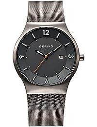 Bering Time Solar - Reloj de cuarzo para hombre, correa de acero inoxidable color plateado