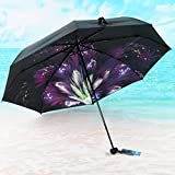 Parapluie pliant Parasol Protection UV Ultraléger Pluie et Pluie Pare-soleil Noir (Couleur : C)