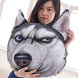 LIWUYOU Akita Perro Cabeza Impreso en 3D Dimensional sofá Almohada cojín de Peluche de Peluche con Eco Bolsa de Almacenamiento