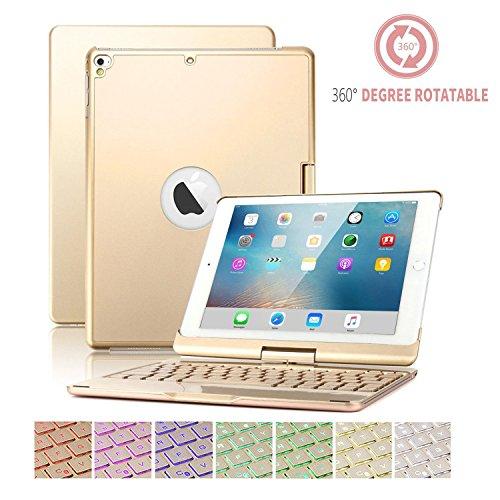 iPad 9.7 Tastatur mit Fall,SUAVER 360° Rotierende Wireless Bluetooth Tastatur Fall Abdeckung 7Farben Hintergrundbeleuchtung und Atmung Licht,Wiederaufladbare(Gold)