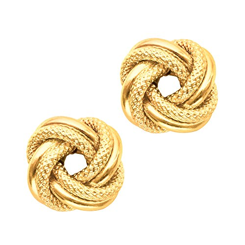 14K oro giallo lucido e texture doppia fila Orecchini Nodo, 10mm