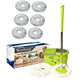 Winberg ® Bucket Mop Stainless Steel Dryer 360° Rotating Pole & Magic Mop