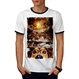 Chien Geek Espace Fantaisie Livre Rêver Men M T-shirt à sonnerie | Wellcoda