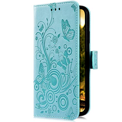 Uposao Kompatibel mit Samsung Galaxy A8 2018 Handyhülle Hülle Flipcase Schmetterling Blumen Muster Flip Wallet Schutzhülle Bookstyle Leder Tasche Klapphülle Case Magnet Kartenfach,Grün