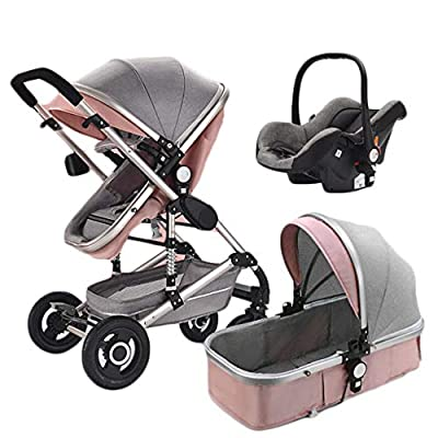 PLDDY Prams 3-in-1 Stroller, Multi-Function Two-Way High Landscape Sitting and Lying Folding Portable Shockproof Travel Baby Carriage (Color : Pink)