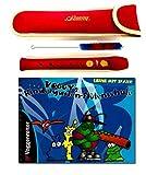 Set flauto da giardino per bambini: flauto dolce (rosso) con borsa e libretto di apprendimento per bambini da 4 anni in su