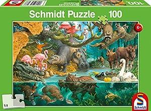 Schmidt Spiele Puzzle 56306Animales Familias Orilla 100Piezas Niño Rompecabezas, Multicolor