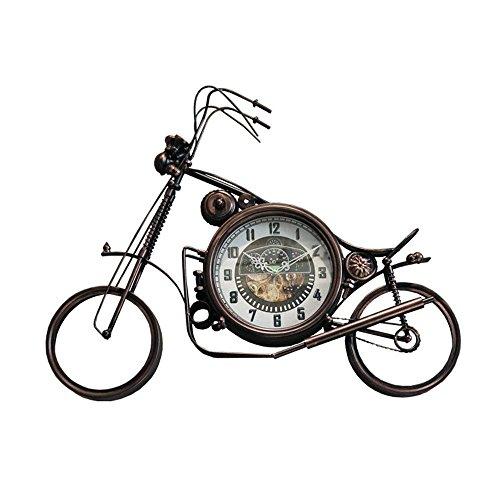 lili Retro Loft Industrie Bügeleisen Motorrad Wanduhr Heavy Metal Industrial Style Numeral Clock antike Persönlichkeit Bar Restaurant Cafe Wand Dekoration Uhren