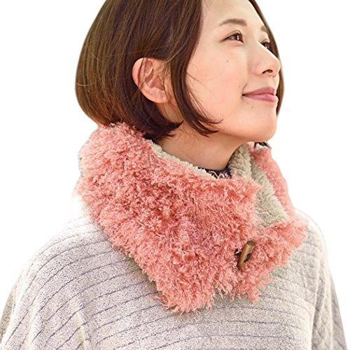 Casualbox femmes cou chaud Boa écharpe Duveteux doux mignon Japonais mode Rose