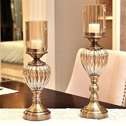 ChenYongPing Vintage Metall Hurricane Candle Holder Dinner Set mit Kristall Metall Säule Hochzeit Kerzenständer für Hochzeit Home Decoration Couchtisch (Farbe : Messing, Größe : Einheitsgröße) -