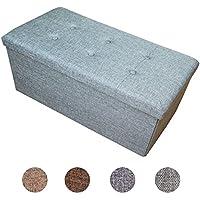 Preisvergleich für HS-Lighting Sitzbank Faltbarer Sitzhocker 76 x 38 x 38 cm Aufbewahrungsbox leinen Sitztruhe Fußhocker (Grün-Grau)
