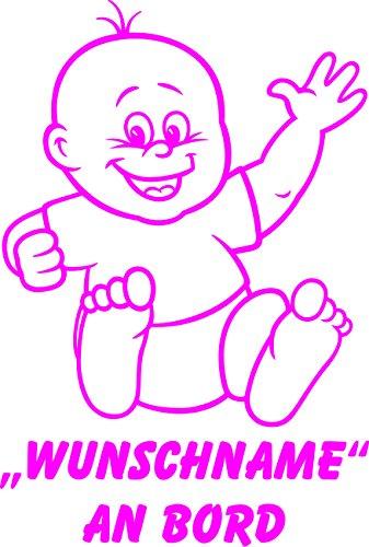 INDIGOS UG - Babyaufkleber / Kinderaufkleber 073 mit Wunschname / Wunschtext an Bord ca. 20 cm Höhe - Autoaufkleber in verschiedenen Farben