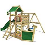 Maison Jardin Best Deals - WICKEY Aire de jeux SeaFlyer Portique de jeux en bois Maison pour jardin avec balançoire, toboggan vert, mur d'escalade, échelle de cordes, bac à sable + Accessoires