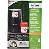 Avery B7173-50 A4 Ultra Heavy Duty Waterproof GHS Labels, BS5609 Certified, For All Printers, 57 x 99 mm - White compare prices - amazon
