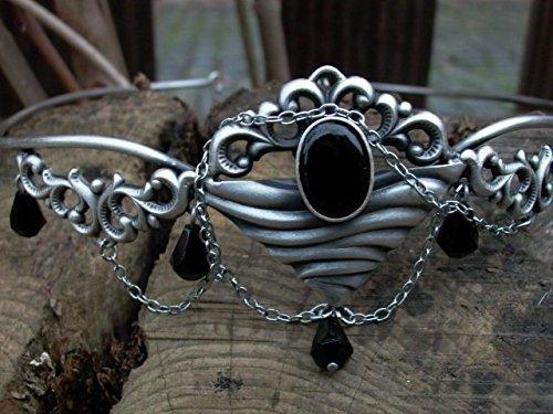 Dark Dreams Gothic Mittelalter Fantasy Larp Diadem Stirnschmuck Stirnreif Tiara Mawia, Farbe:schwarz - 3