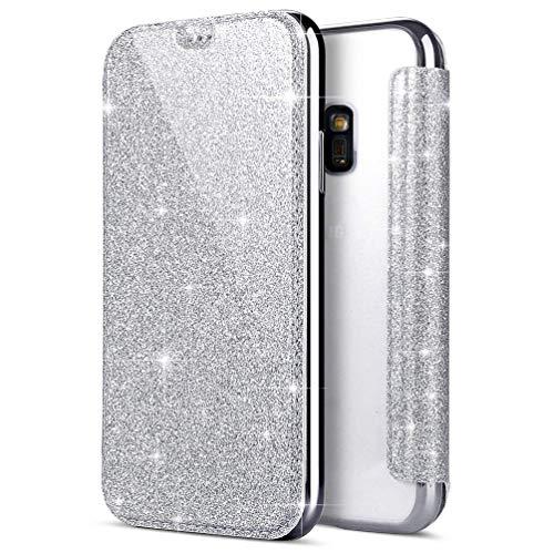 Coollee Coque Galaxy S5 Paillette Bling Glitter PU Cuir Wallet Flip Cover avec Transparent Souple TPU Silicone Bumper Back Case Ultra Slim Fonction Stand et Porte Carte Antichoc Case Argent