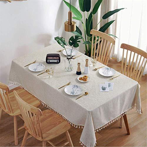 SONGHJ Einfache Leinen Tischdecke Land Stil Solide Multifunktionale Rechteck Tisch Abdeckung Tischdecke A01 90x90cm