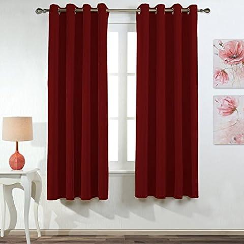 Ponydance Top Cringle térmicos paneles aislantes Ojal cortina del apagón para Niños habitación 116cm x 182cm (Set de 2, rojo)