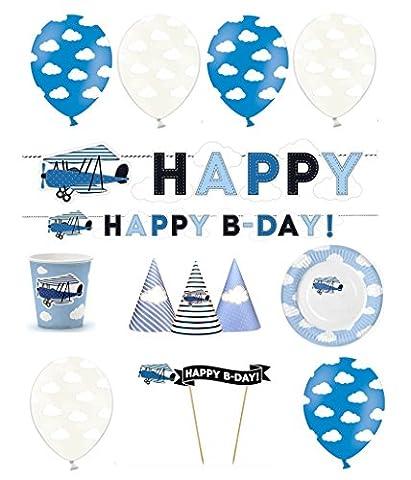 FesteFeiern Kinder-Geburtstagsdeko für Jungen 26 Teile im Set, verschiedene Blautöne